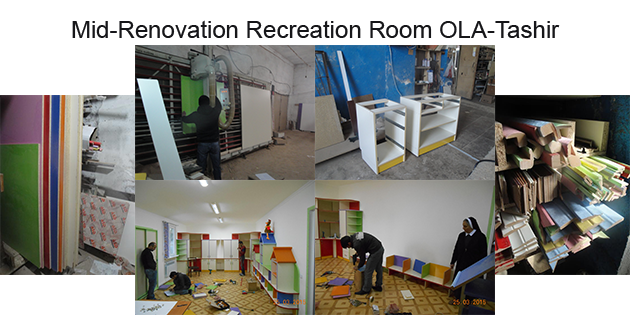 Mid renovation of the recreation room at OLA-Tashir