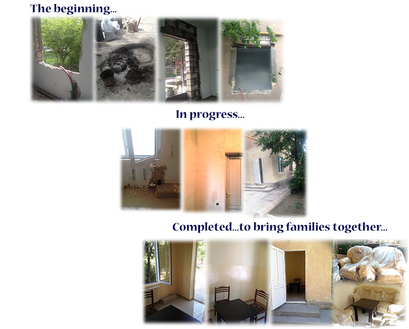 A Family Suite was constructed at Mari Izmirlyan Orphanage. The purpose of the suite is to facilitate reunification between children housed in Mari Izmirlyan and their biological families.