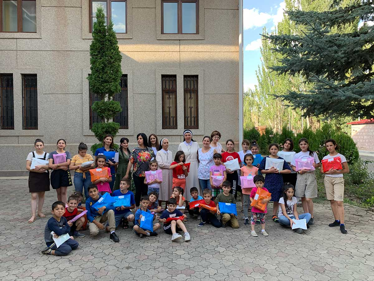 School supplies for the children at Our Lady of Armenia Center